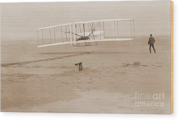 Wright Brothers First Powered Flight Wood Print by Padre Art