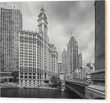 Wood Print featuring the photograph Wrigley Building Chicago by Adam Romanowicz