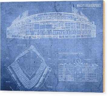 Wrigley Field Chicago Illinois Baseball Stadium Blueprints Wood Print