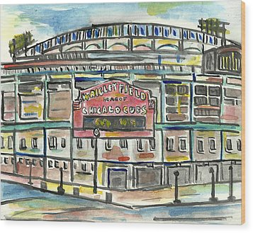 Wrigley Field Wood Print by Matt Gaudian
