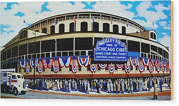Wrigley Field Wood Print by T Kolendera