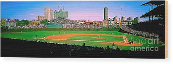Wood Print featuring the photograph Wrigley Field  by Tom Jelen