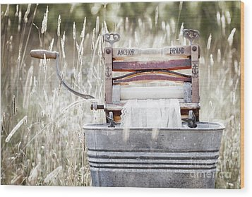 Wringer Washer - Retro Matte Wood Print by Angie Rea