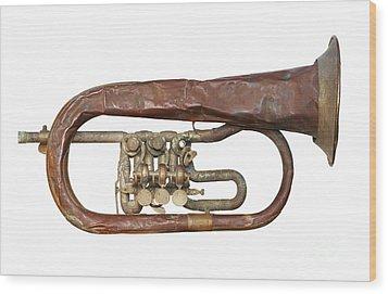Wrinkled Old Trumpet Wood Print by Michal Boubin