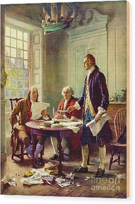 Writing Declaration Of Independence Wood Print by Pg Reproductions