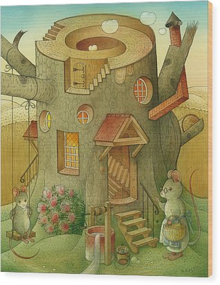 Wrong World Wood Print by Kestutis Kasparavicius