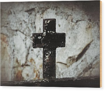 Wrought Iron Cross Against Stone Wood Print