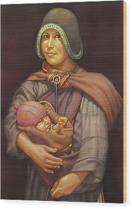 Ws1979dc003 Mother And Child 18x24 Wood Print by Alfredo Da Silva
