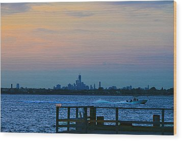 Wtc Over Jamaica Bay From Rockaway Point Pier Wood Print by Maureen E Ritter