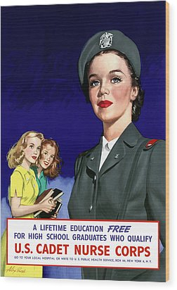 Ww2 Us Cadet Nurse Corps Wood Print by War Is Hell Store