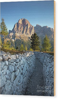 Wwi Trenches - Dolomites Wood Print by Brian Jannsen