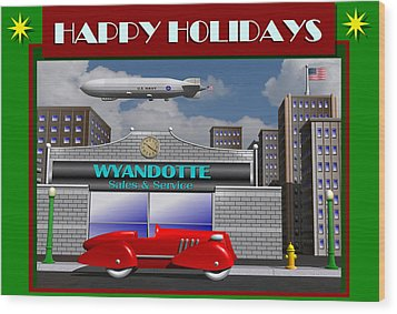 Wood Print featuring the digital art Wyandotte Happy Holidays by Stuart Swartz