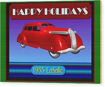 Wood Print featuring the digital art Wyandotte Lasalle Happy Holidays by Stuart Swartz
