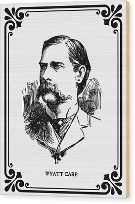 Wood Print featuring the mixed media Wyatt Earp Newspaper Portrait  1896 by Daniel Hagerman