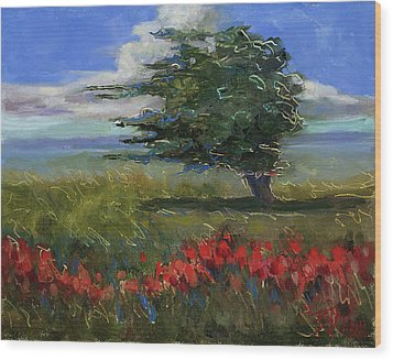Wood Print featuring the painting Wyoming Gentle Breeze by Billie Colson