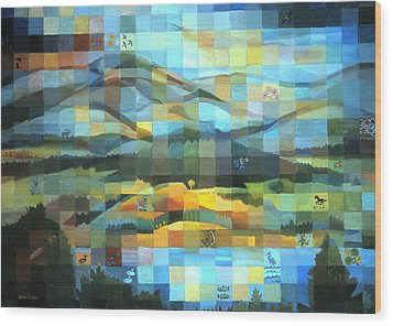 Wood Print featuring the painting Wyoming Quilt by Dawn Senior-Trask