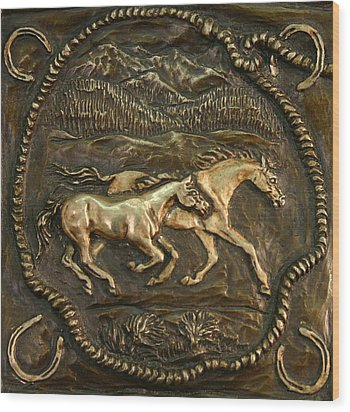 Wood Print featuring the sculpture Wyoming Ranch Horses by Dawn Senior-Trask