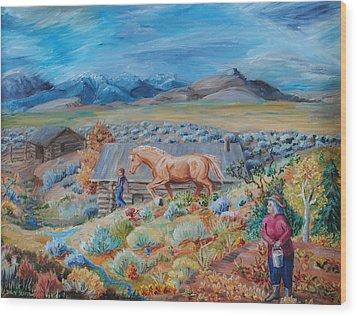 Wyoming Ranch Scene Wood Print by Dawn Senior-Trask