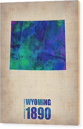 Wyoming Watercolor Map Wood Print by Naxart Studio