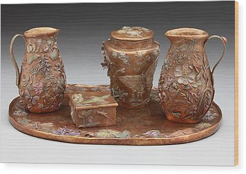 Wood Print featuring the sculpture Wyoming Wildflowers Bronze Set by Dawn Senior-Trask