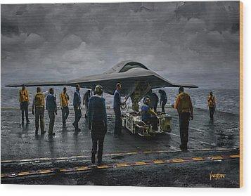 X-47b Uav  Wood Print