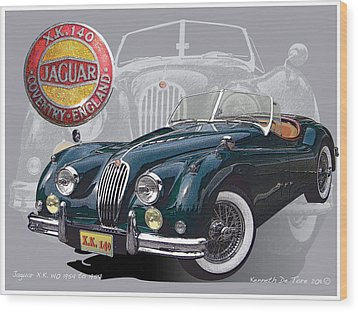 X K 140 Jaguar Wood Print by Kenneth De Tore