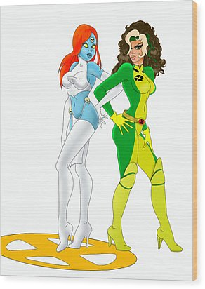 Wood Print featuring the painting X Men Rogue And Mystique by Lynn Rider