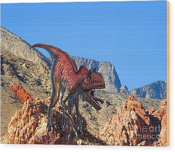 Xuanhanosarus In The Desert Wood Print by Frank Wilson