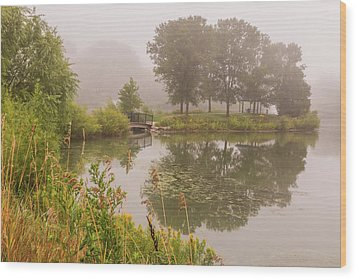 Misty Pond Bridge Reflection #5 Wood Print