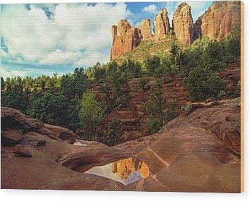 Reflection At Seven Sacred Pools Wood Print