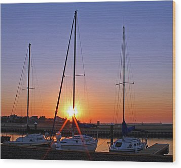Wood Print featuring the photograph Yacht Club Sunrise by Judy Vincent