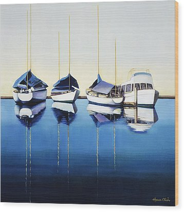 Yacht Harbor Wood Print by Han Choi - Printscapes