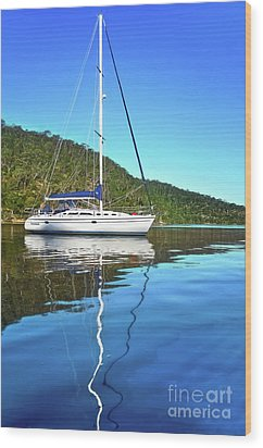 Wood Print featuring the photograph Yacht Reflecting By Kaye Menner by Kaye Menner