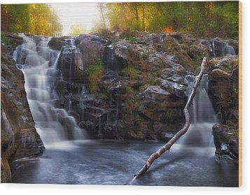 Yacolt Falls In Autumn Wood Print by David Gn