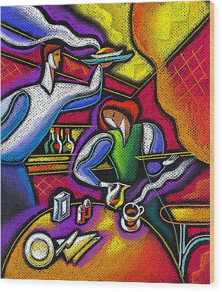 Wood Print featuring the painting  Yam Food And Drink by Leon Zernitsky