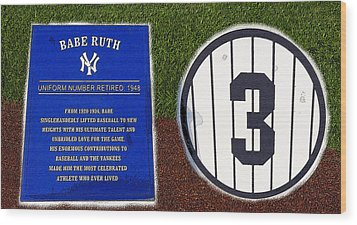Yankee Legends Number 3 Wood Print by David Lee Thompson