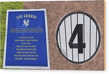 Yankee Legends Number 4 Wood Print by David Lee Thompson