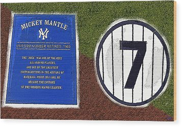 Yankee Legends Number 7 Wood Print by David Lee Thompson