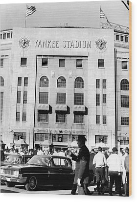 Yankee Stadium, Fans Arrive To Watch Wood Print by Everett