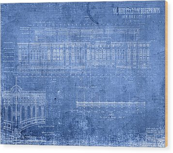 Yankee Stadium New York City Blueprints Wood Print by Design Turnpike