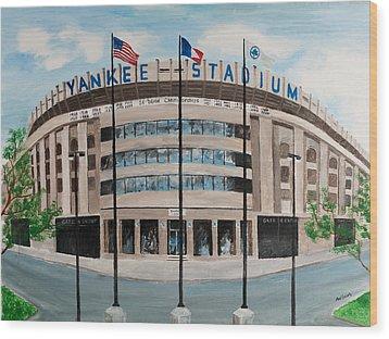 Yankee Stadium Wood Print by Paul Cubeta