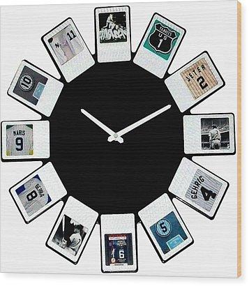 yankees Clock Wood Print by Paul Van Scott