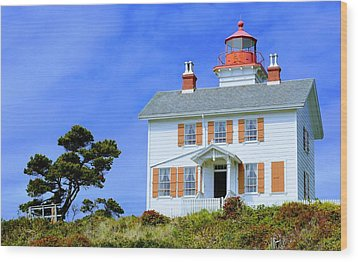 Wood Print featuring the photograph Yaquina Bay Lighthouse by AJ Schibig
