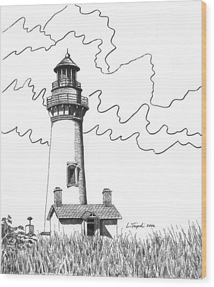 Yaquina Head Lighthouse Wood Print by Lawrence Tripoli