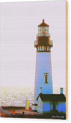 Yaquina Head Lighthouse Wood Print by Steve Warnstaff