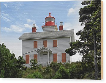Yaquina Lighthouses - Yaquina Bay Lighthouse Oregon Wood Print by Christine Till