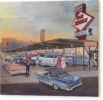 Yaw's Top Notch Drive In Wood Print by Mike Hill