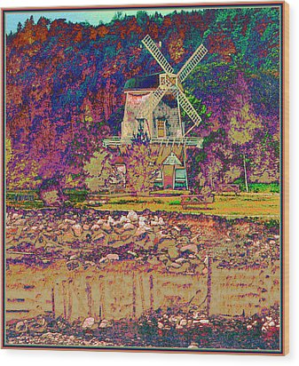 Ye Old Windmill Wood Print by Russ Mullen