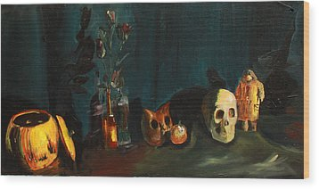 Wood Print featuring the painting Yeah Its Halloween by Jane Autry