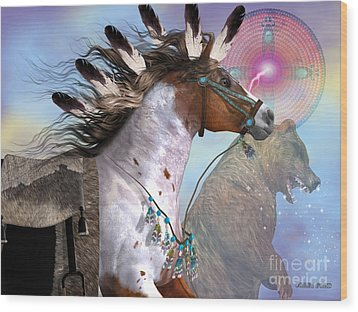 Year Of The Bear Horse Wood Print by Corey Ford